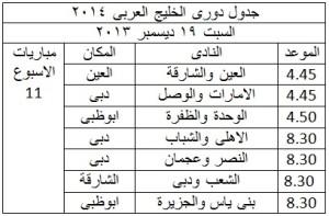 جدول الدورى العربى 2014 الاسبوع 11 300x197 جدول مواعيد مباريات دوري الامارات لكرة القدم 2014 دوري الخليج العربي