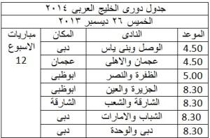 جدول الدورى العربى 2014 الاسبوع 12 300x197 جدول مواعيد مباريات دوري الامارات لكرة القدم 2014 دوري الخليج العربي