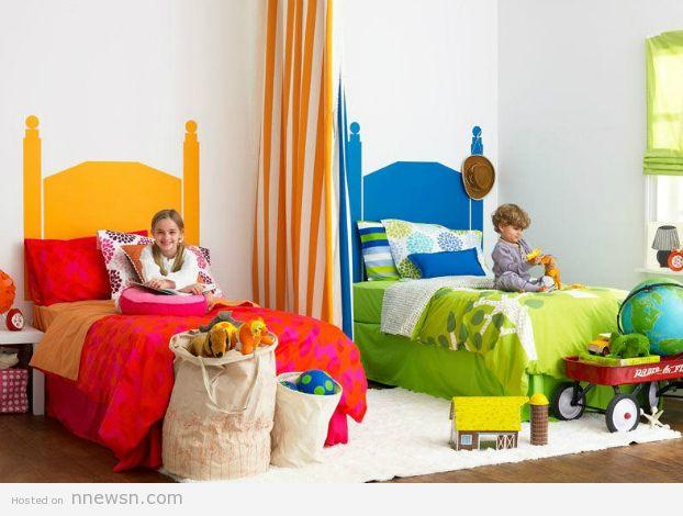 غرف نوم اطفال فردية و زوجية للتوائم تصاميم سراير و حوائط و الوان غرف