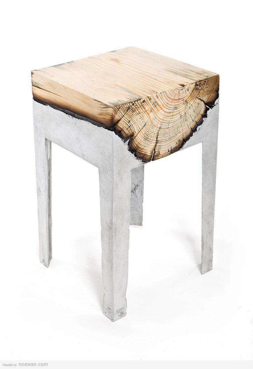 كرسي خشب والومنيوم