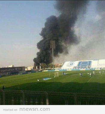 حريق نادي الهلال بالصور حريق نادي الهلال السعودي