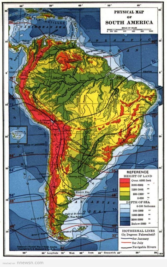 الخريطة الطبوغرافية لامريكا الجنوبية