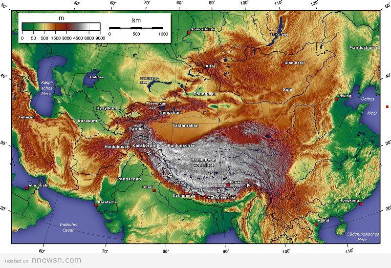 خريطة اسيا الطبوغرافية
