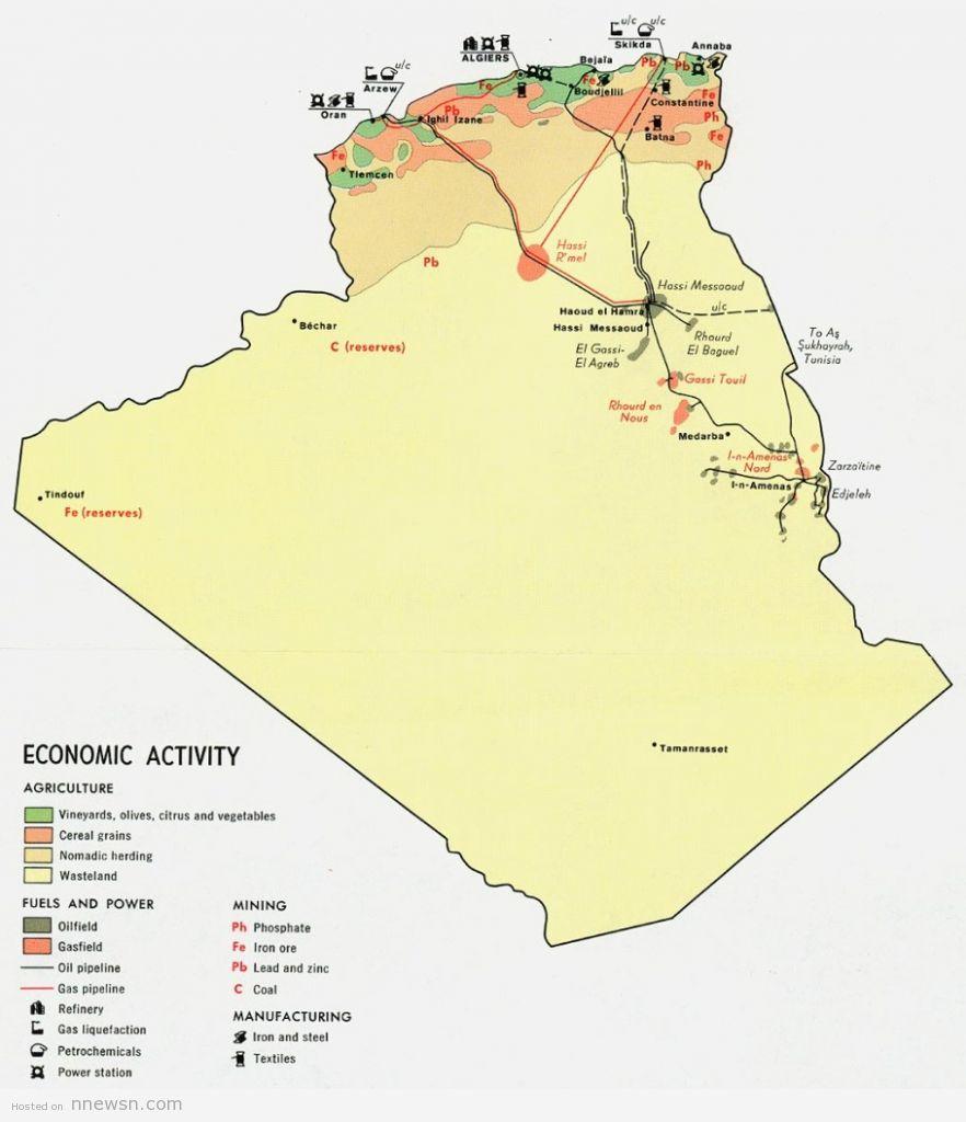 خريطة الجزائر للنشاطات الاقتصادية