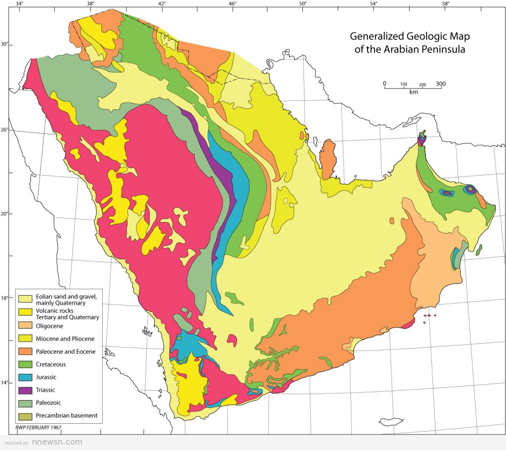 خريطة السعودية الجيولوجية