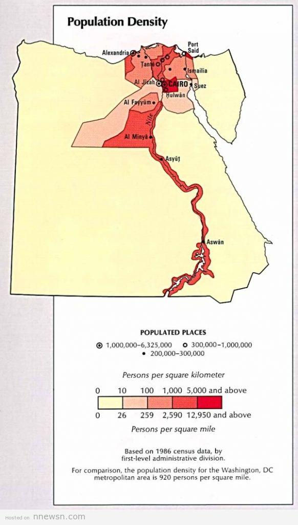 خريطة السكان مصر