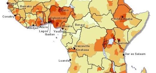 خريطة الكثافة السكانية بافريقيا