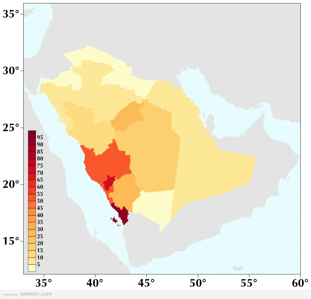 خريطة الكثافة السكانية بالسعودية