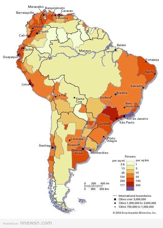 خريطة الكثافة السكانية بامريكا الجنوبية