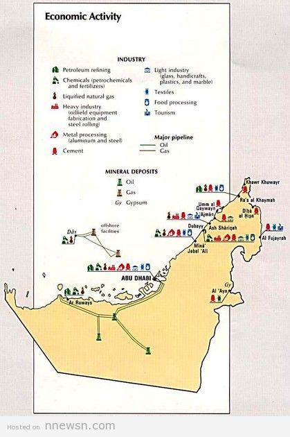 خريطة النشاطات الاقتصادية بالامارات