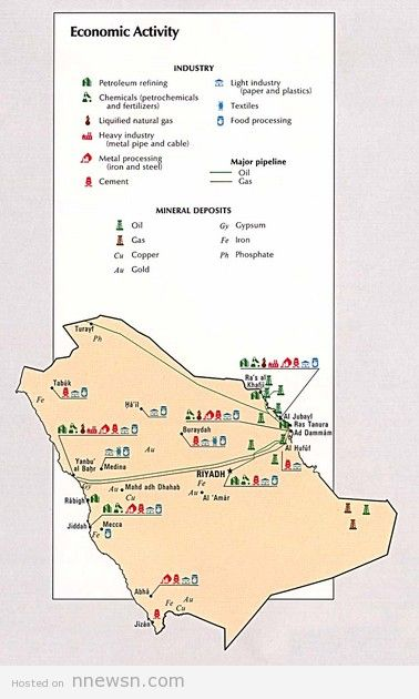 خريطة النشاط الاقتصادي بالسعودية