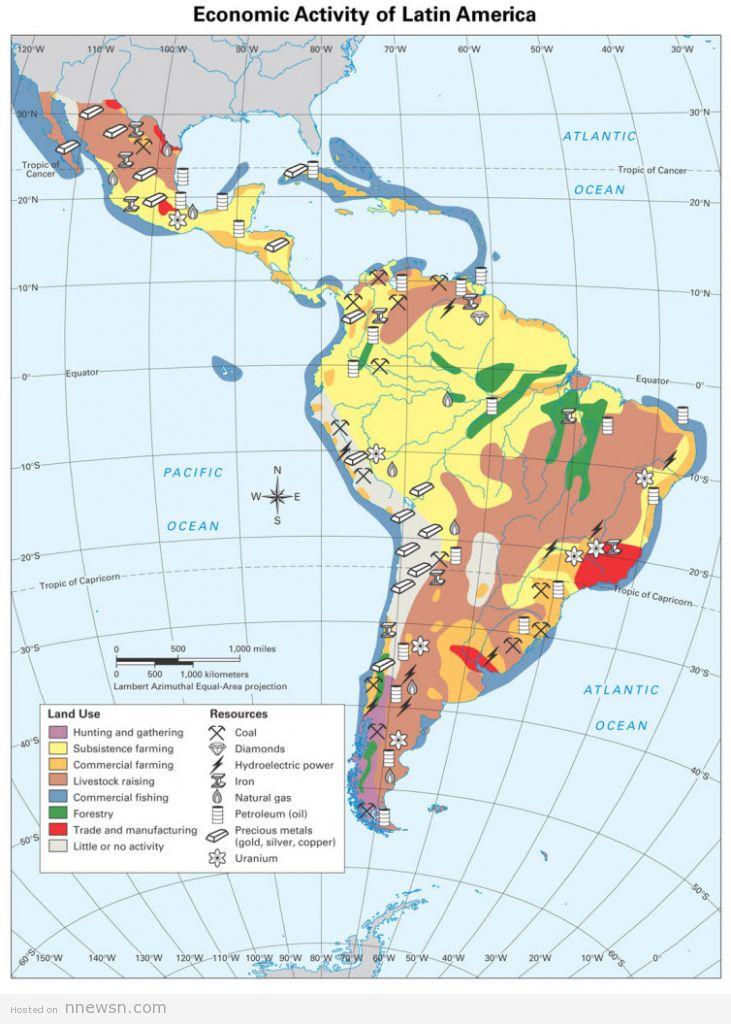 خريطة امريكا الجنوبية الاقتصادية