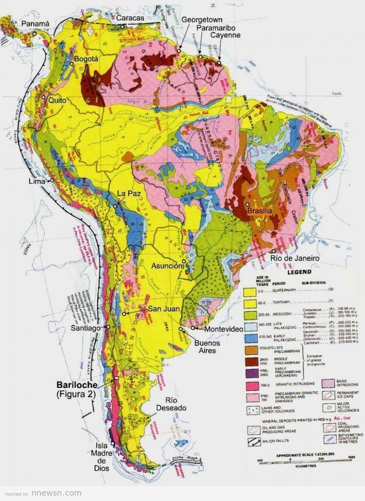 خريطة امريكا الجنوبية الجيوليجية