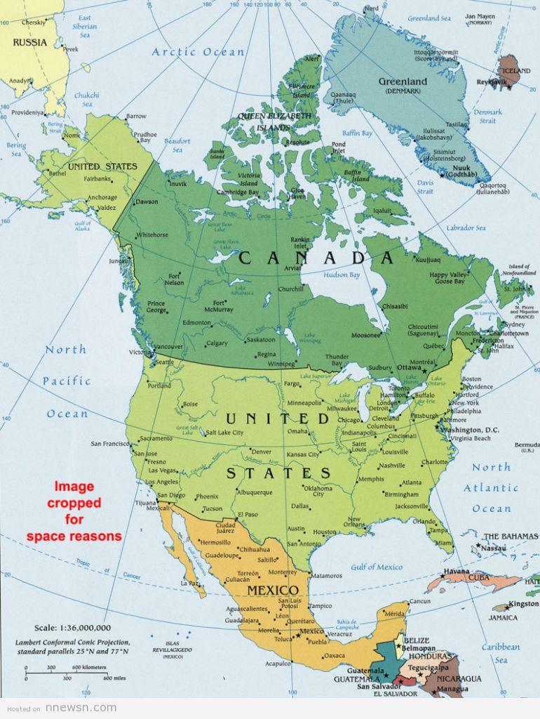 خريطة امريكا الشمالية السياسية