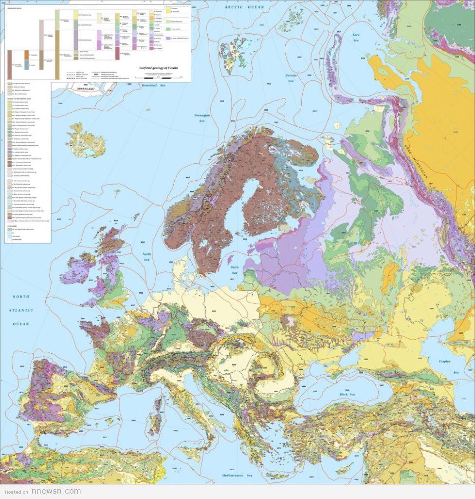 خريطة اوروبا الجيوغرافية