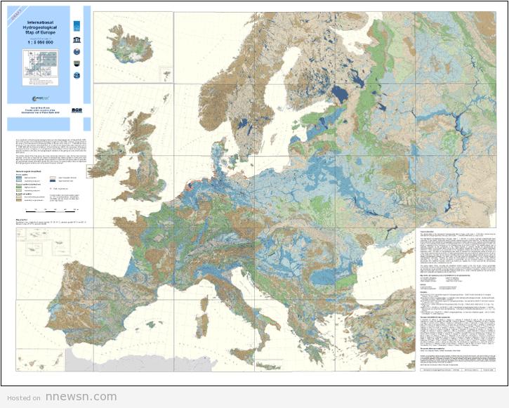 خريطة اوروبا الهيدروليجية