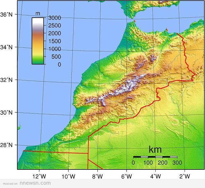 خريطة طبوغرافية للمغرب