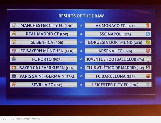 ابطال اوروبا 2017 نتيجة قرعة مباريات دور الـ16 لدوري أبطال أوروبا